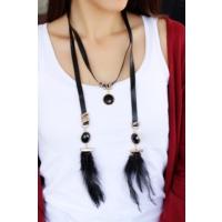 Çınar E-Ticaret Siyah Tai Ve Kumaş Tasarımlı Bayan Kolye Bko1626