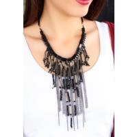 Çınar E-Ticaret Siyah Taş Ve Zincir Tasarımlı Bayan Kolye Bko1638