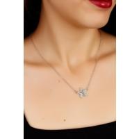 Çınar E-Ticaret Zirkon Parlak Taşlı Deniz Yıldızı Figürlü Bayan Kolye Bko1594