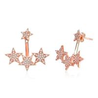 Bella Gloria Üç Yıldız Piercing Roz Gümüş Küpe (Gp00142)