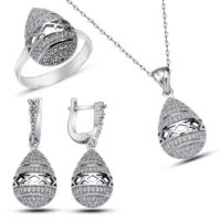 Bella Gloria Altın Kaplamalı Gümüş Bombeli Damla Takım (Gt00141) 18