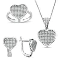 Bella Gloria Gümüş Mikro Taşlı Kalp Takım (Gt00197) 19