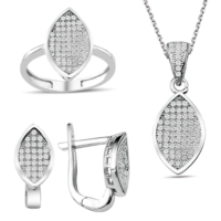 Bella Gloria Gümüş Mikro Taşlı Markiz Takım (Gt00194) 16