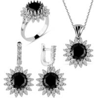 Bella Gloria Siyah Güneş Gümüş Takım (Gt00182) 10
