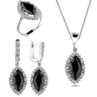 Bella Gloria Tek Sıra Taşlı Siyah Mekik Gümüş Takım (Gt00169) 15