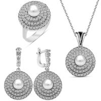 Bella Gloria Üç Sıra Taşlı İnci Gümüş Takım (Gt00167) 18