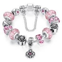 Angemıel Angemıel Pembe Murano Çiçekli Kristal Charm Bileklik