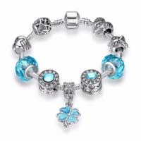 Angemıel Angemiel Mavi Dört Yapraklı Yonca Kristal Charmlı Bileklik