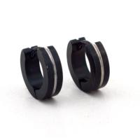Solfera Siyah Renk Tasarım Halka Çelik Erkek Küpe E404