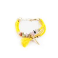 Eos Sarı / Renkli Taşlı Püsküllü Bileklik