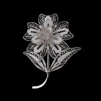 Akyüz Gümüş Çiçek İşlemeli Telkari Gümüş Broş Brs002