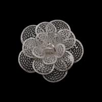Akyüz Gümüş Papatya İşlemeli Telkari Gümüş Broş Brs005