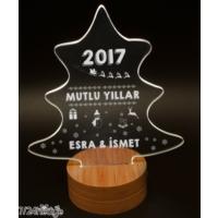 7/24 Hediye Yılbaşı Hediyesi Ağaç Tasarımlı 3D Led Lamba