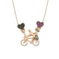 Nereze Rose Kaplama Bisikletli Aşıklar Kolye Bisiklet Kolye Bayan Gümüş Kolye
