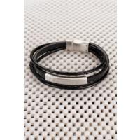 Morvizyon Siyah Deri Tasarımlı Çelik Aksesuarlı Erkek Bileklik Leb171