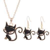 OM Kolye ve Küpe Takı Seti Siyah Kedi