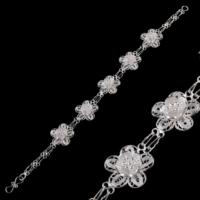 Akyüz Gümüş Papatya İşlemeli Telkari Gümüş Bileklik Bt033