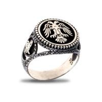 Akyüz Gümüş Çift Başlıklı Kartal Gümüş Yüzük Ey011