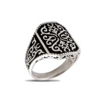 Akyüz Gümüş Kabartma Desenli Gümüş Yüzük Ey034