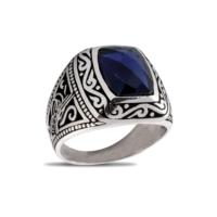Akyüz Gümüş Lacivert Zirkon Taşlı Gümüş Yüzük Ey042