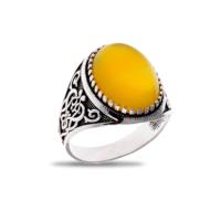 Akyüz Gümüş Sarı Akik Taşlı Gümüş Yüzük Ey015
