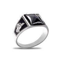 Akyüz Gümüş Siyah Zirkon Taşlı Osmanlı Tuğralı Gümüş Yüzük Ey018