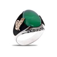 Akyüz Gümüş Yeşil Akik Taşlı Osmanlı Tuğralı Gümüş Yüzük Ey016