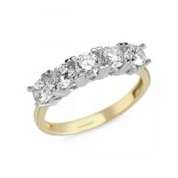 Sembolgold Özel Tasarım! Altın 5 Taş Yüzük Zirkon Taşlı Sg42-783432