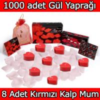 Chavin 1000 Adet Beyaz Gül Yaprağı, Kırmızı Kalp Mum Yap31