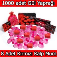 Chavin 1000 Adet Pembe Gül Yaprağı, Kırmızı Kalp Mum Yap30