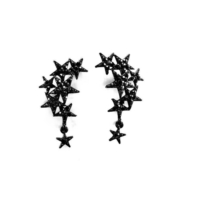 Hane14 Shooting Stars Yıldızlı Taşlı Siyah Küpe