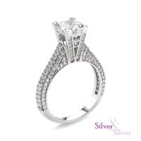 Silver & Silver Swarovski Aşkın Işıltısı Tek Taş Yüzük