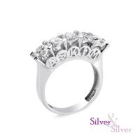 Silver & Silver Aşkım 5 Taş Zirkon Yüzük