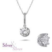 Silver & Silver Zirkon Özel Tek Taş Kolye