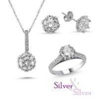 Silver & Silver Swarovski Kalbimin Taçı Tek Taş Set