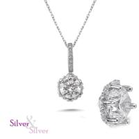 Silver & Silver Swarovski Kalbimin Taçı Tek Taş Kolye