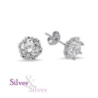 Silver & Silver Swarovski Kalbimin Taçı Tek Taş Küpe