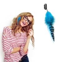 Npw Saç Tüyü - Klipsli Saç Aksesuarı - Clip On Hair Feather Yeşil