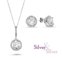 Silver & Silver Swarovski 5 ct Aşk Kolye Küpe