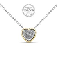 Monemel Swarovski® Taşlı Çift Kalp Kolye (Altın Kaplama) N0456