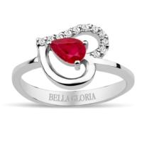 Bella Gloria Pırlanta Kırmızı Kuartz Kalp Yüzük (GPY0008)