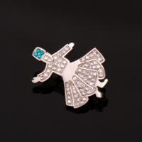 Sümer Telkari Semazen Swarovski Taşlı Gümüş Broş 83