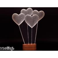 7/24 Hediye Dekoratif Kalpli 3D Led Lamba Gece Lambası