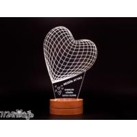7/24 Hediye Anneye Hediye Kalp Şeklinde 3D Led Lamba Gece Lambası