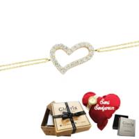 Glorria Altın Kalp Bileklik - Hediye Seti - Cn0301b-Hs