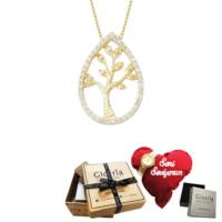 Glorria Altın Hayat Ağacı Kolye - Hediye Seti - Cm305-Hs
