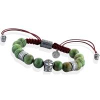 Thuja Jewels Yeşil Opal Taşlı Kurukafalı 925 Ayar Gümüş Erkek Bileklik