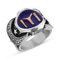 Işık 925 Ayar Gümüş Kayı Boyu Sancaklı Erkek Yüzüğü