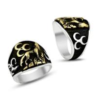 Işık Bozkurt Üç Hilal İşlemeli 925 Ayar Gümüş Erkek Yüzüğü