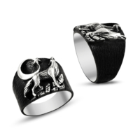 Işık Ay Yıldız Ve Bozkurt İşlemeli 925 Ayar Gümüş Erkek Yüzüğü